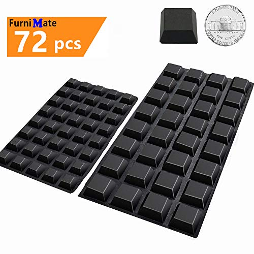 Black Rubber Feet 72PCS Self Adhesive Rubber Feet Black Bumper Pads Tall Square Bumpers for Electronics Speakers Computers Keyboard PS4