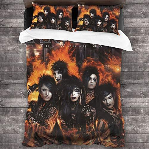 "Black Veil Brides Set The World On Fire 3-Piece Bedding Set 86"""" X70 Comforter Quilt Set Twin Size Soft Duvet Cover Set with 1 Quilt Cover 2 Pillow Shams Unisex"