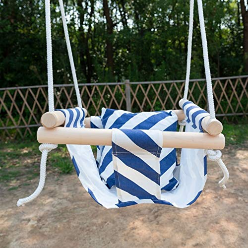 Baby Swing Hangmat Seat Set Canvas Hangende Stoel met Cushion Todder Outdoor Indoor Garden houten schommel Rocker dragende 50kg (Color : Blue and white)