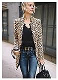 Abrigo de primavera de moda y cómoda Leopardo blazer mujeres manga larga blazer cárdigan tops leopard impresión abrigo traje formal dama moda de moda abrigo largo ( Color : Brown , Size : XXL )