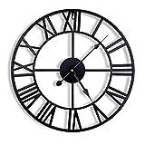 ENCOFT Reloj de Pared Decorativo Vintage Reloj Cologado con Mecanismo Silencioso Decoración para Habitación Dormitorio Oficina Bar (Negro, 40cm)