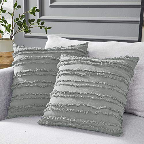 Longhui bedding Light Grey Throw Pillow Covers for Couch Sofa Bed, Cotton Linen Decorative Pillows Cushion Covers, 18 x 18 inches, Set of 2