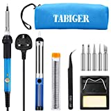 TABIGER Soldering Iron Kit Electronics 60W Adjustable Temperature Welding Tool with 5pcs Soldering