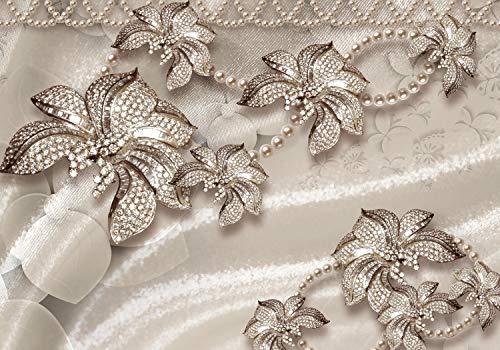 wandmotiv24 Fototapete Blumen Gold Luxus M 250 x 175 cm - 5 Teile Fototapeten, Wandbild, Motivtapeten, Vlies-Tapeten Schmetterlinge, Gold, Diamant M1828