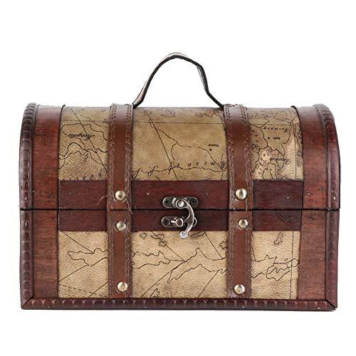 Organizador de joyería vintage de estilo europeo de madera vintage Exquisita mano de obra, adecuado para tiendas de ropa, bares temáticos, estudios, hogar para(map)