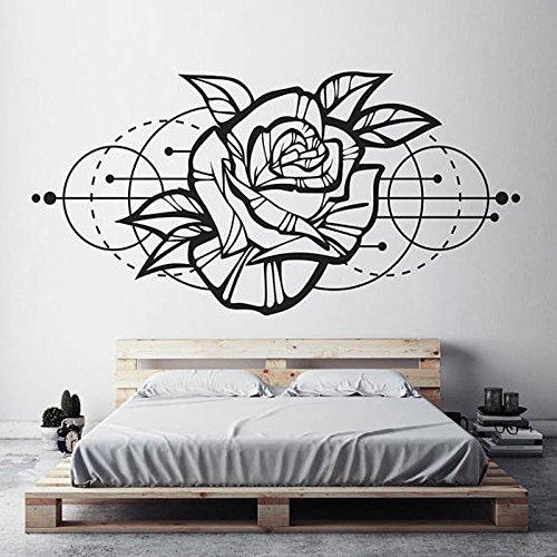 Creativo Rosa flor etiqueta de la pared decoración dormitorio espacio geométrico diseño pared calcomanías sala de estar papel tapiz murales A4 84x42cm