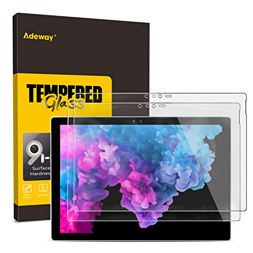 (2 Pack) Adeway Tempered Glass Screen Protector for Surface Pro 6/5 / 4 (12.3 inch), Premium HD Clear, High Responsivity, Scratch Resistant,Anti Glass.