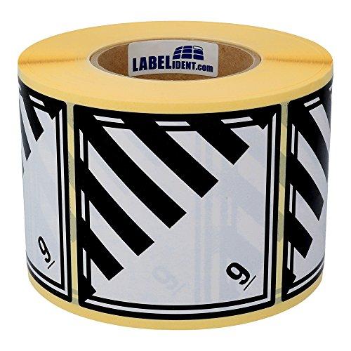 Labelident Gefahrgutaufkleber 100 x 100 mm - Klasse 9 - Verschiedene gefährliche Stoffe und Gegenstände - 1000 Gefahrgutetiketten auf 1 Rolle(n), 3 Zoll Kern, Papier weiß/schwarz, selbstklebend