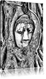 Pixxprint Buddha Kopf im Baum als Leinwandbild | Größe: 120x80 | Wandbild| Kunstdruck | fertig bespannt