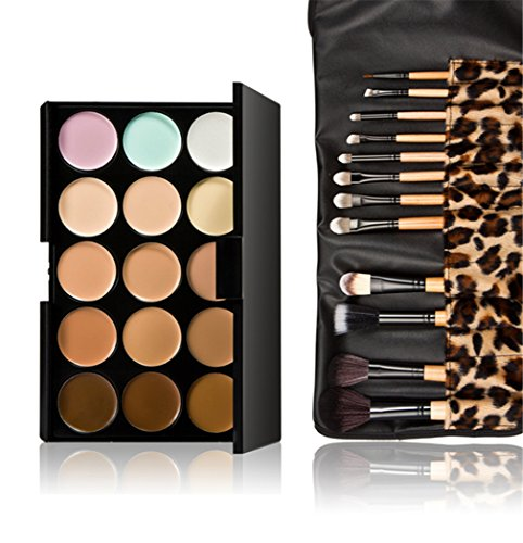 Pure Vie Pro 12 Pcs Make Up Brushes + 15 Colors Cream Concealer Camouflage Makeup Palette Contouring Kit for Salon and Daily Use