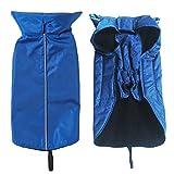KingNew Leine für Hunde-Regenjacke Weste, warm, für Haustiere, Kleidung, ultra-Licht Atmungsaktiv, 100% wasserdicht Regenjacke mit Loch (M), Blau