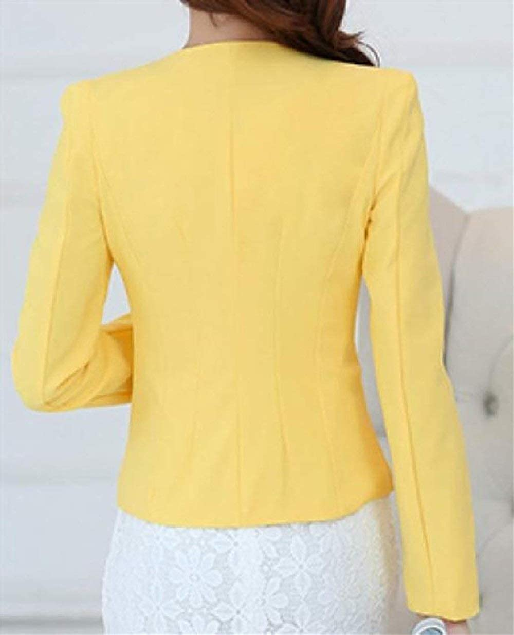 Lannister Fashion Damen Freizeitanzug Mode Herbst Anzugjacke Langarm Kurzjacke Button Vordertaschen Normallacks Mäntel Business Hochwertigem Outerwear Gelb