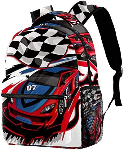 LORVIES Speeding Racing Car with Checkered Flag Pattern Lightweight School Classic Backpack product image