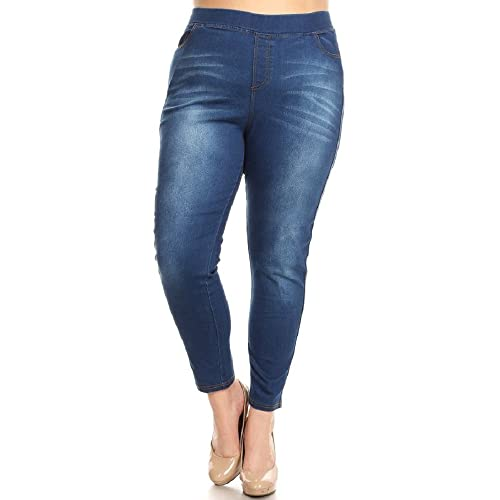 4efabb677c5 Women s Stretch Pull-On Skinny Ripped Distressed Denim Jeggings  Regular-Plus Size