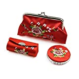 uxcell 3 in 1 Red Embroidery Mirror Lipstick Box Coin Purse Set Makeup Storage Gift Kit