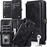 Galaxy A30/A20 Wallet Case for Women,Auker 2in1 [Magnetic Detachable] Folio Flip Leather Wristlet Wallet Case with 7 Card Holder/Money Pocket Full Protective Folding Stand Purse Clutch for Samsung A30