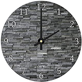 hiusan Black Grey Slate Modern Wood Wall Clocks Silent Noticking Decorative for Living Room for Kitchen for Bedrooms 12in