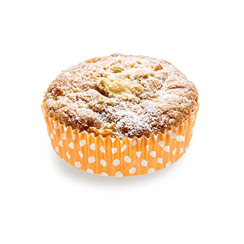 Panificio Premium 3.5 Inch, 4 Ounce Baking Cups: Regular-Ridged Round Paper Baking Cups Perfect for Muffins, Cupcakes or Mini Snacks - Hot Orange Polka Dot Print Design - Disposable - 200ct Box
