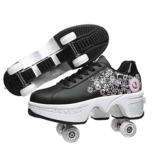 Dytxe-shelf Patines 4 Ruedas Mujer Profesionales Skate Ligeros Calzado Zapatos Patines De Ruedas Zapatos Deportivos para Niños Adultos Al Aire Libre