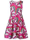Girls Sleeveless Dress 3D Print Cute Rainbow Unicorn Pattern Red Summer Dress Casual Swing Theme Birthday Party Sundress Toddler Kids Twirly Skirt, Unicorn, 4-5T