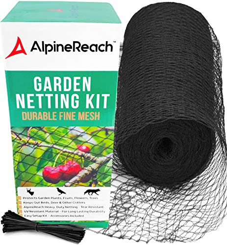 AlpineReach Garden Mesh Netting Kit 7.5 x 65 Feet - Protects Plants Fruits Flowers Trees - Stretch Fencing Durable Net with Zip Ties - Fine Mesh Heavy Duty Black Cover - Stops Birds Deer Animals