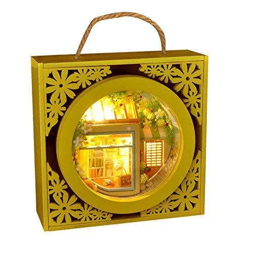 precauti Holz DIY Miniatur Puppenhaus Kit, handgefertigte Miniatur Puppenhaus DIY Kit mit Möbeln LED-Leuchten, Garten Box Modell Kit Weihnachtsgeburtstagsgeschenk für Kinder Erwachsene