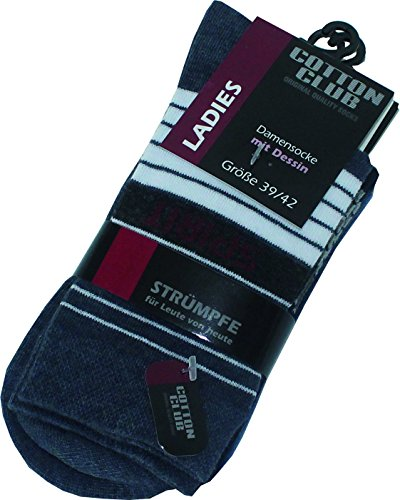 Cotton Club Damen-Socken, gemustert, Spirit-Dessin (35/38, marine, dunkeljeans, jeans)