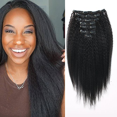 OrderWigsOnline Human Hair Kinky Straight Clip In Hair Extensions Virgin Remy Human Hair 7 pieces 100gram/3.6oz Grade 7A for Thin Hair Natural Black for Black Women 14 Inch