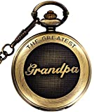 Retro Hunter Grandpa Design for Quartz Pocket Watch + Chain