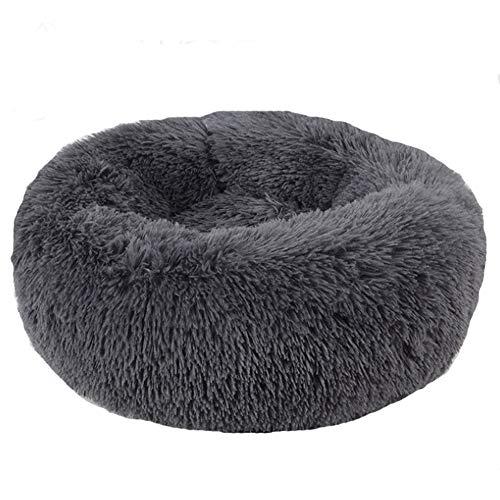 BVAGSS Cama de Felpa Deluxe Plush Redonda de Pelo Nido de Donut para Mascotas Deluxe para Gatos y Perros XH034 (Diameter:70, Dark Grey)