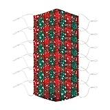 6PC Papá Noel de Bandanas Respirable Polaina de cuello Elástico Multifuncional Wicking Pañuelo Estampado Papá Noel, Reutilizable, 𝐌𝐚𝐬𝐜𝐚𝐫𝐢𝐥𝐥𝐚𝐬 facial de tela de algodón reutilizable