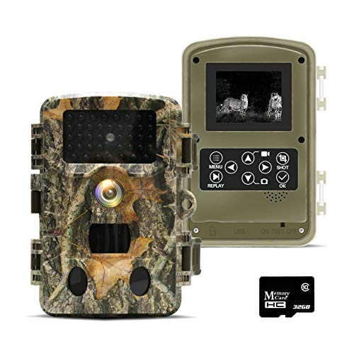 LANMODO Trail Camera with Night Vision, 20MP 1080P Game Camera Free 32GB Card, Waterproof Wildlife Camera, Hunting Cam Motion Activated, 0.2S Trigger Speed, 120° Detecting Range, up to 24hrs Video