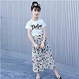 Neue Mädchen Sommerkleidung Kurzärmelige und weit geschnittene Hose 2-teiliges Set Mädchenbekleidung Baumwolle für Mädchen Kleidungssets