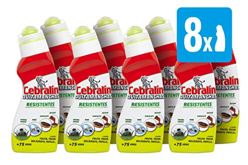 Cebralín - Quitamanchas Resistentes, Elimina Manchas en Textiles, Pack [ 8 x 150 ml], Total: 1200 ml