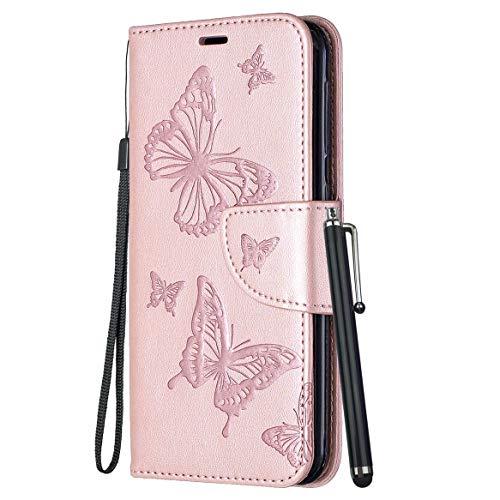 Yiizy Handyhüllen für Huawei P smart FIG-LX1 Ledertasche, Schmetterling Stil Lederhülle Brieftasche Schutzhülle für Huawei Enjoy 7S hülle Silikon Cover mit Magnetverschluss Kartenfächer (Roségold)