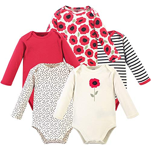 Touched by Nature Baby Organic Cotton Long-Sleeve Bodysuits, Poppy, 0-3 Months