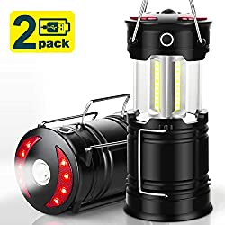 EZORKAS 2 Pack Camping Lanterns, Rechargeable Led Lanterns, Hurricane...