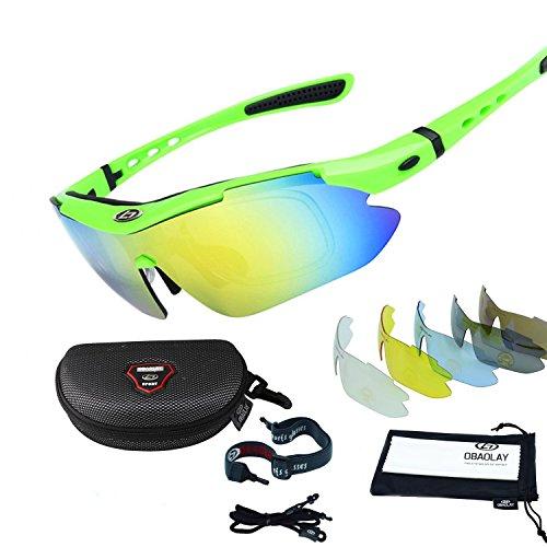 Sincewe Occhiali da Sole Sportivi, Anti-UV 400 Protezione Ciclismo Occhiali da Sole con 5 Lenti Intercambiabili,Uomo e Donna Antivento Aviatore Specchio per MTB,Bici,Moto,Trekking Casual-Verde