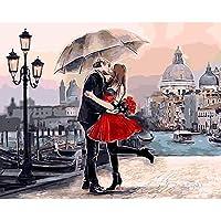 数字キットによる DIY数字油絵キャンバスの油絵大人の子供のためのギフト数字キットでペイントホームデコレーション 40x50cm - 11赤いカップル傘,40×50cm(フレームなし)