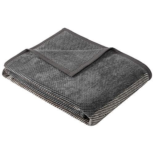 Ibena Vogar Kuscheldecke 150x200 cm - Decke mit Blockstreifen grau braun, Leicht zu pflegene & kuschelweiche Baumwollmischung
