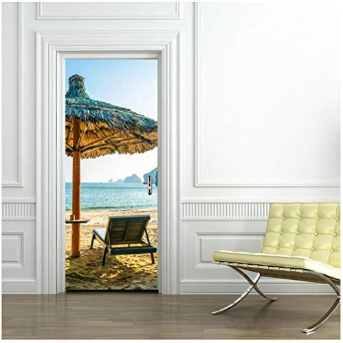 3D creatieve strand vakantie deck stoel gras paviljoen deur sticker huisdecoratie woonkamer slaapkamer badkamer kinderkamer PVC verwijderbare DIY 95x215cm
