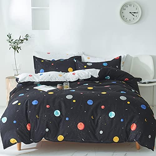 GETIYA Ropa de cama negra de 135 x 200 cm para niñas y jóvenes, juego de cama con estampado de planetas, funda nórdica de microfibra con cremallera y funda de almohada de 80 x 80 cm