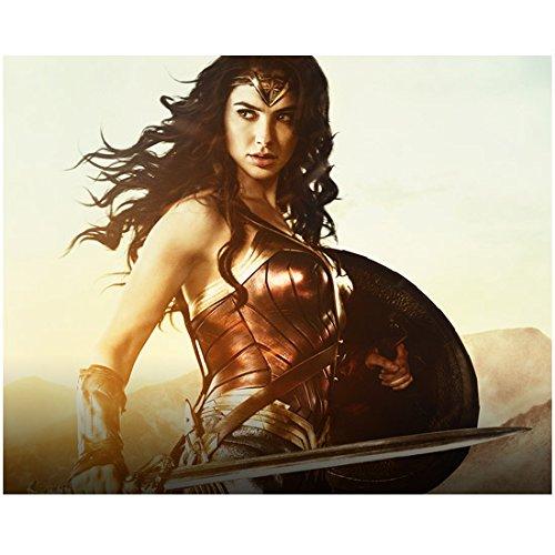 Gal Gadot 8 inch x 10 inch Photograph Wonder Woman (2017) Holding Sword & Shield Chin Down Eyes Looking Right kn
