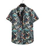 Shirt Hawaiana Hombre Manga Corta Verano Transpirable Moda Hombre Shirt Botones Básicos Tapeta Estampado Vintage Hombre Shirt Ocio Personalidad Cómoda Hombre Shirt Playa TD02 L