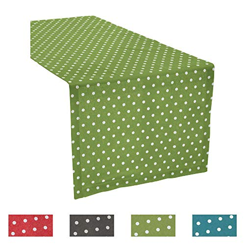 REDBEST Tischläufer, Tischdecke Punkte Orlando, 100% Baumwolle grün Größe 40x170 cm - Robustes, glattes Gewebe, mit Kuvertsaum (weitere Farben, Größen)