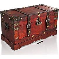 Brynnberg - Caja de Madera Cofre del Tesoro con candado Pirata de Estilo Vintage, Hecha a Mano, Diseño Retro 40x19x22cm