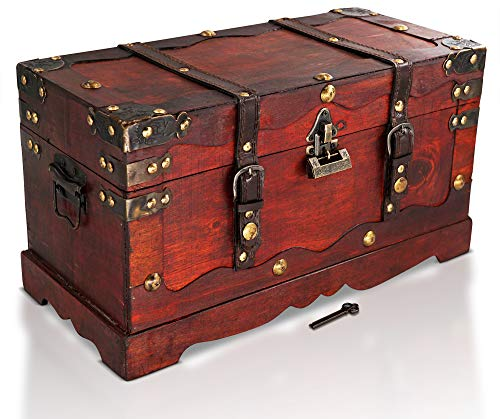 Brynnberg - Caja de Madera Cofre del Tesoro con candado Pirata de Estilo...