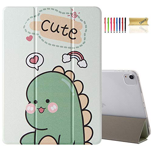 Dteck iPad Air 4 Case, iPad 10.9 Case 2020, iPad Pro 11 Case 2020 & 2018,Lovely Slim Trifold Smart Stand Lightweight Transparent Soft TPU Rubber Silicone Back Case, Auto Wake/Sleep, Cute Dinosaur