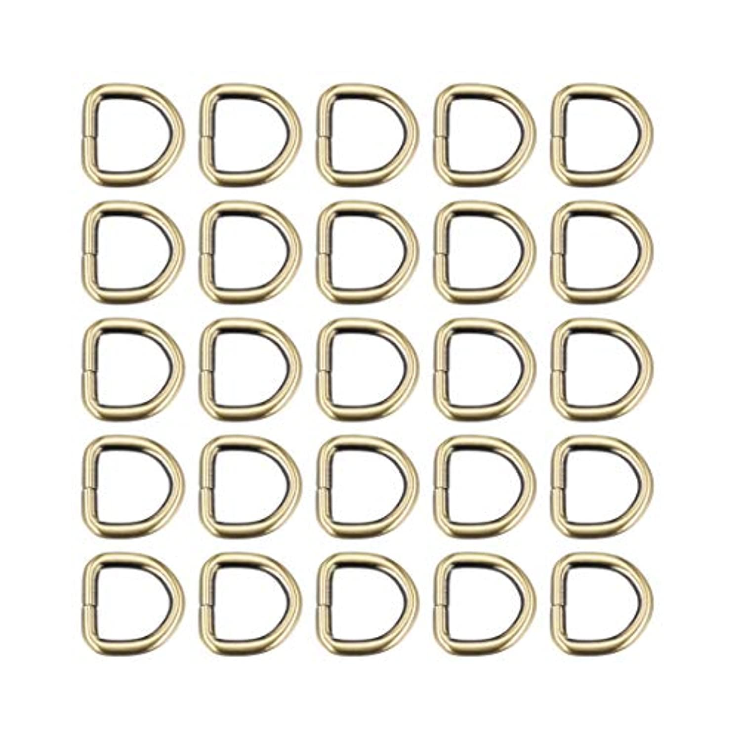 uxcell 25 Pcs D Ring Buckle 0.8 Inch Metal Semi-Circular D-Rings Bronze Tone for Hardware Bags Belts Craft DIY Accessories