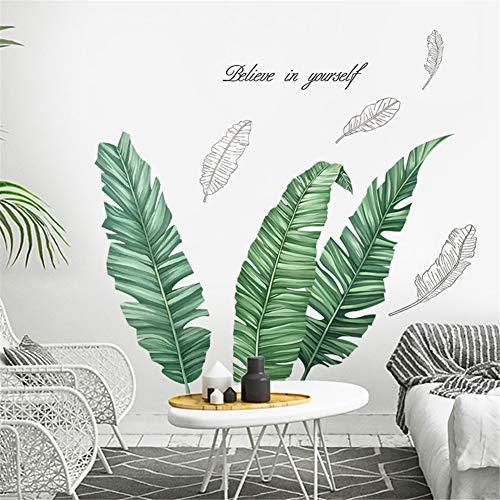 Martin Kench Wandtattoo Wandsticker Groß Palme Blätter Grün Wanddeko für Wohnzimmer Schlafzimmer Flur Kühlschrank (Stil A)